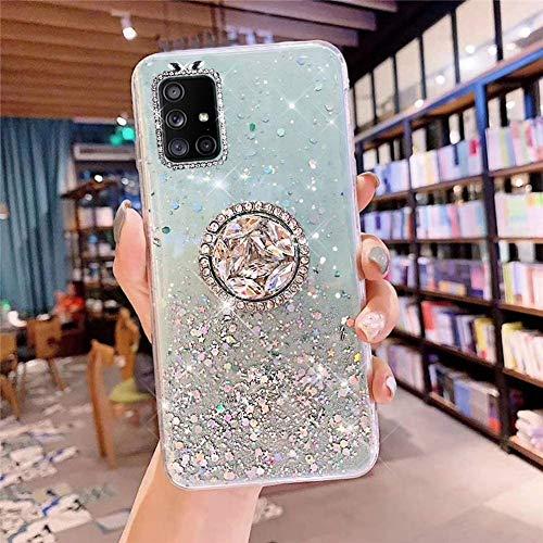 Coque pour Samsung Galaxy A51 Coque Transparent Glitter avec Support Bague,étoilé Bling Paillettes Motif Silicone Gel TPU Housse de Protection Ultra Mince Clair Souple Case pour Galaxy A51,Vert