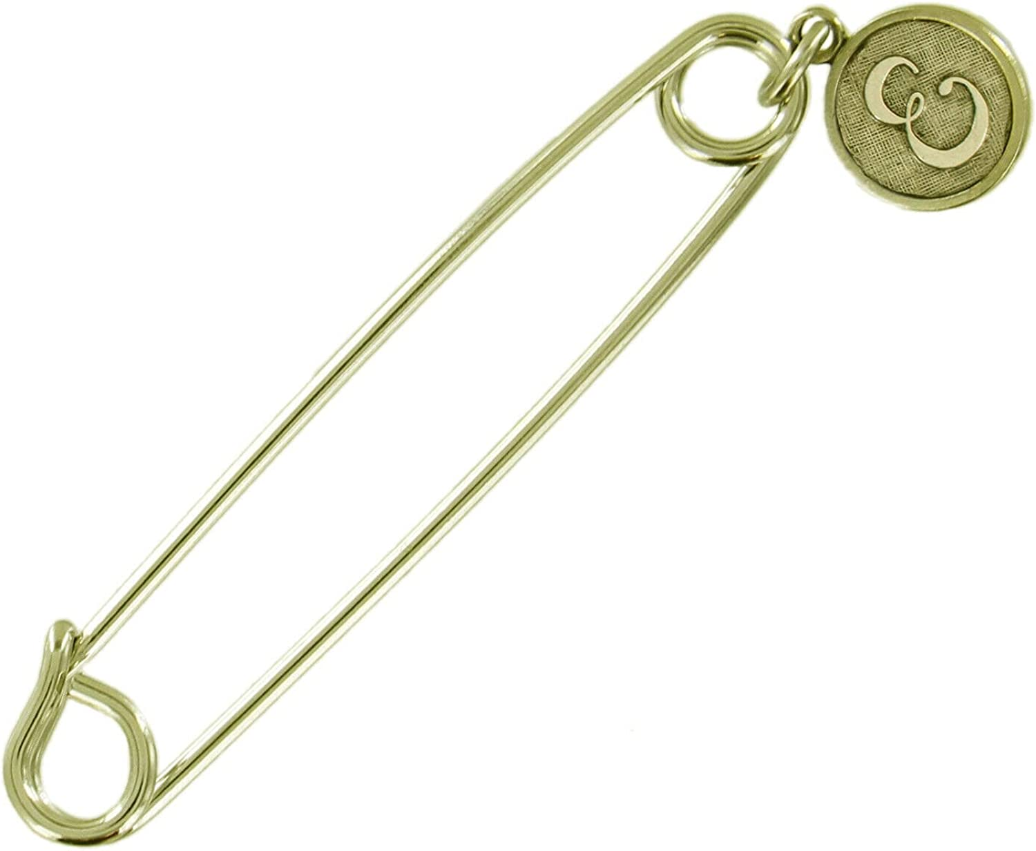 Ð¡harm Boston Mall - Cheap super special price Safety Pin Brooch Gold Letter Tone E En Initial Cursive
