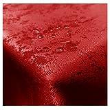 JEMIDI Tischdecke Stofftischdecke melierter Glanz Optik und Lotus Effekt Tafeldecke Tischdecken Decke Tisch Gartentischdecke Rot 160cm Rund