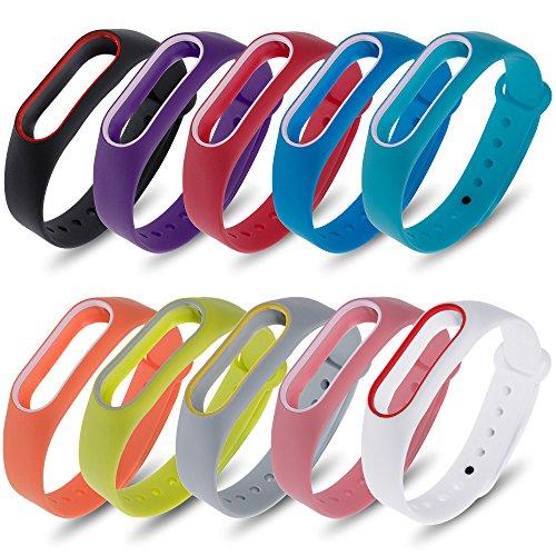 Zacro Kit Cinturino di Ricambio - per Smartwatch Xiaomi Mi Band 2 Polso Cinturino di Ricambio intelligente Miband 2 Bracciale Set di 10(Activity Tracker non incluso)