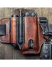 Breale taktisk multiverktygshållare läder EDC väska organiserare bältesögla med nyckelhållare för ficklampa verktyg Oudoor Camping (17,5 x 13 cm)