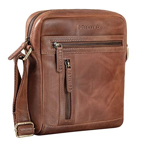 STILORD 'Vince' Echtleder Umhängetasche Herren Kleine Vintage Schultertasche für 10,1 Zoll Tablets Herrentasche aus Echtem Leder, Farbe:Andorra - braun