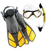 Siliber 3Pcs Snorkel Mask & Fins Set, Double Lens Silicone Mask with Dry Top Tube, Adjustable Flippers and Snorkeling Gear Bag for Adults Men and Women - Golden, ML/XL