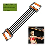 Ueasy Adjustable Chest Expander Resistance Exercise System Bands Strength Trainer for Home Gym Muscle Training Exerciser (Black-120KG)