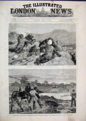 Original old antique victorian print Fiume 1881 di Ingagani della Collina di Majuba di Boeri di Guerra del Transvaal