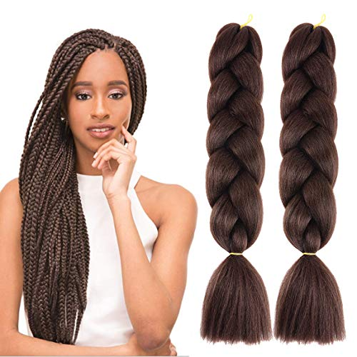 MSCHARM 5Pcs 100g/Pcs Synthetic Braiding Hair Extensions 24 Inch Ombre Jumbo Fiber Braiding Hair Extensions for Daily Life or Party Use (Black Brown)