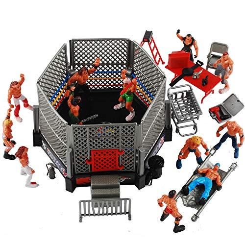 NWFashion 31PCS Wrestling Playset for Kids WWE Wrestler Warriors Toys Ringside