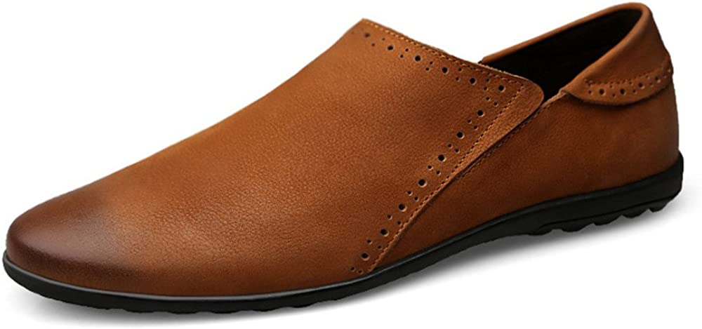 Mens Fashion Soft Flat Sole Driving Penny Loafers Round Toe Slip-on Casual Moccasins CHENDX Shoes