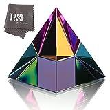 HundD Kristall irisierend Pyramide Figur Glas Kunstdekor Ornament mit Geschenk Box 8.9 cm