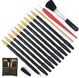 Juego de 14 herramientas para rascar arte con lápiz para rascar, raspador, lápiz capacitivo, cepillo negro y bolsa de transporte