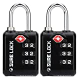 SURE LOCK TSA Approved 3 Digit Luggage Locks with Zinc Alloy Body and Hardened Steel Shackle to Lock Travel Suitcase (Black 2 Pack)