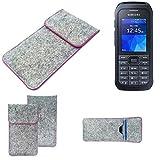 K-S-Trade Handy Schutz Hülle Für Samsung Xcover 550 Schutzhülle Handyhülle Filztasche Pouch Tasche Hülle Sleeve Filzhülle Hellgrau Pinker Rand