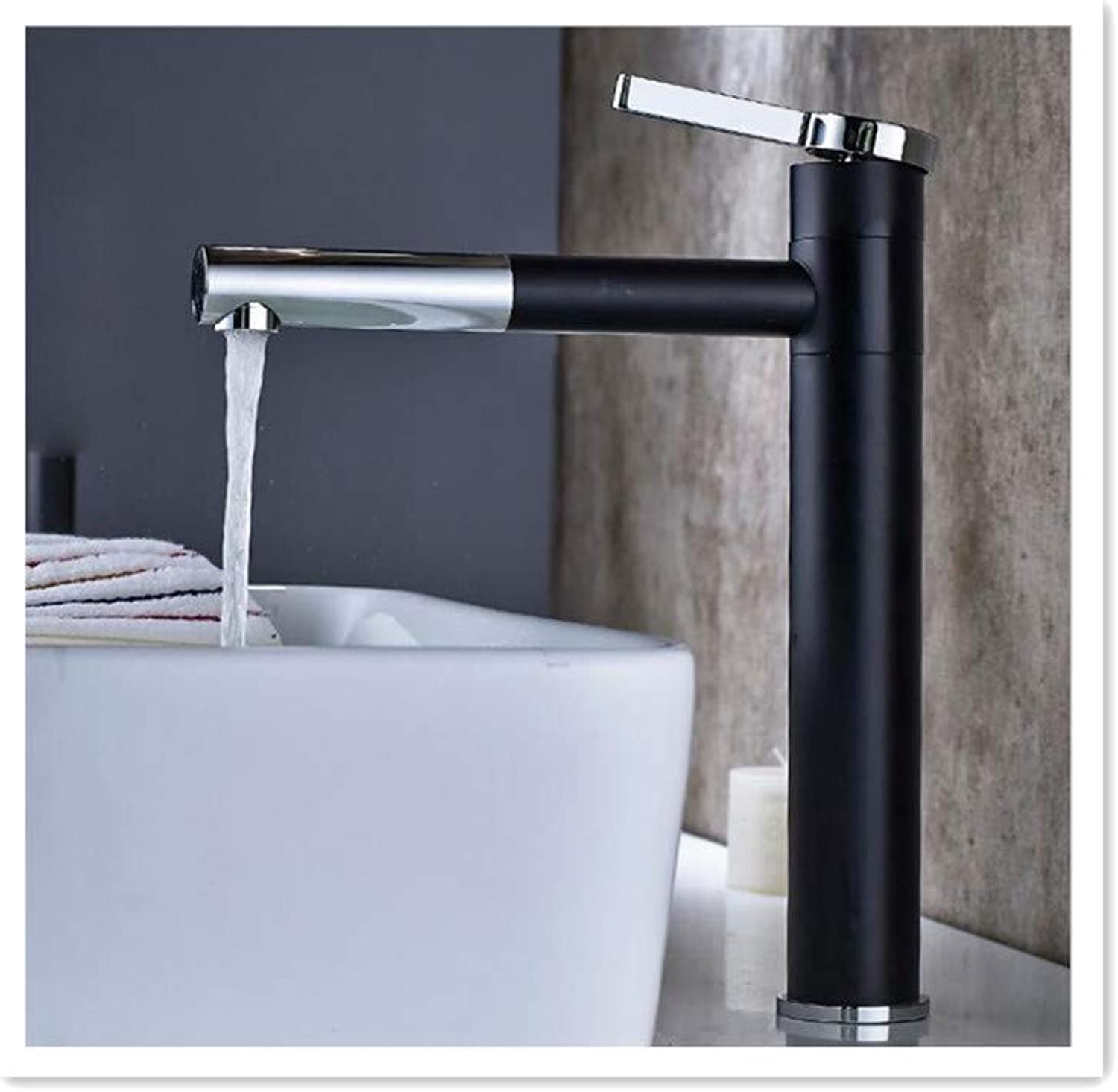 BBQBQ Copper bathroom paint two-color black and white basin faucet redatable hot and cold water mixer faucet black A