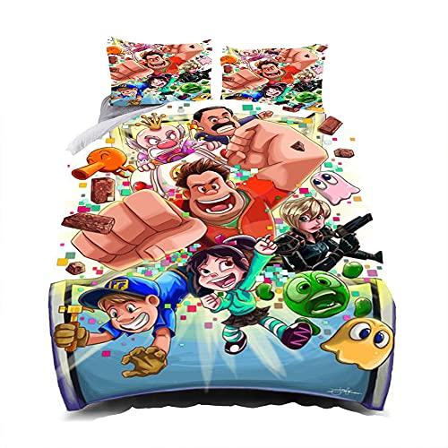 Bettwäsche 155×220 Multicolor,3D Ralph Breaks The Internet Bettbezug,Weiche Mikrofaser Bettbezug Und Kissenbezüge,Geeignet Für Kinder,Jungen Und Mädchen Bettwäsche Set