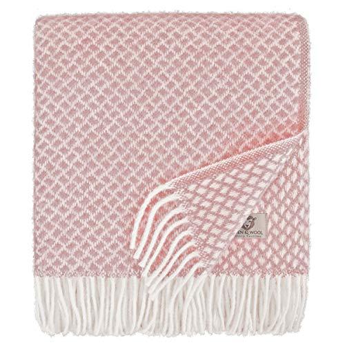 Linen & Cotton Luxus Schöne Warme Decke Wolldecke Wohndecke Kuscheldecke Sofia - 100% Reine Neuseeland Wolle, Rosa/Pink (130 x 170cm) Sofadecke/Überwurf Decke/Plaid Couch Sofa/Schurwolle Blanket