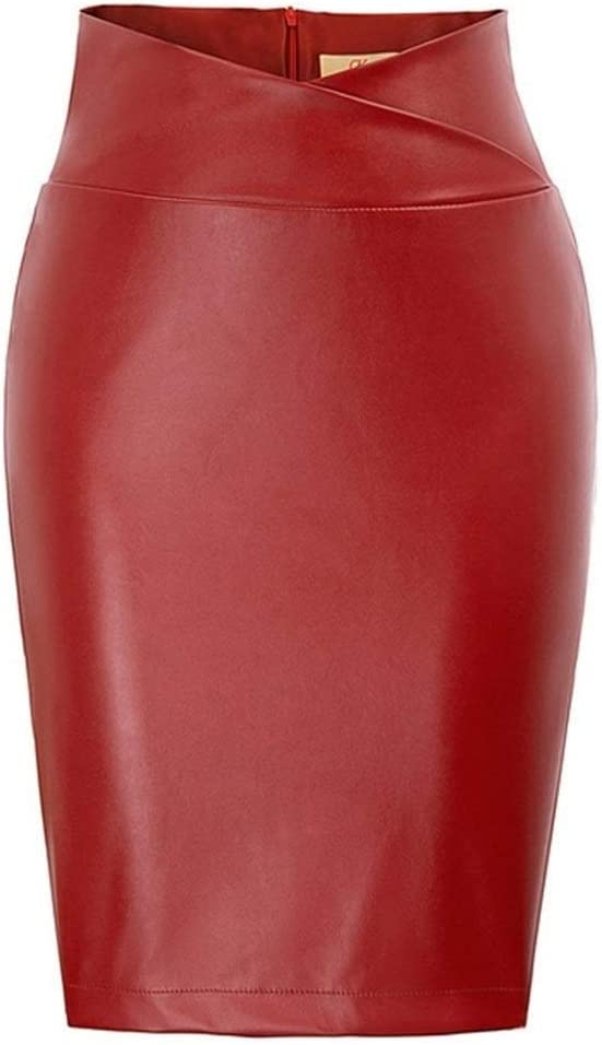 ZZYLHS Women Max 64% OFF PU Leather Pencil Red Skirt Black Faux 2021new shipping free shipping Asym