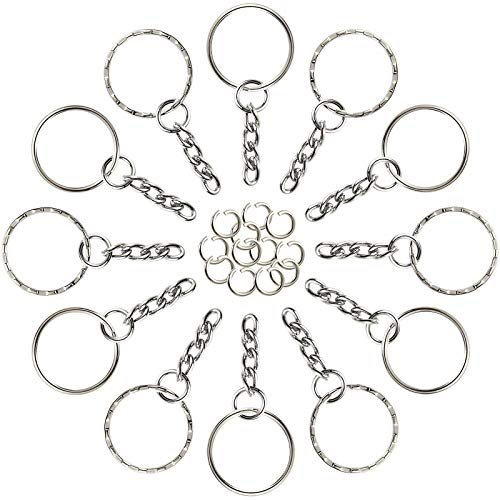FEPITO 60 Pieces Keyring Blanks Split Metal Key Rings with Link Chain and Open Jump Rings for Keys,Crafts DIY
