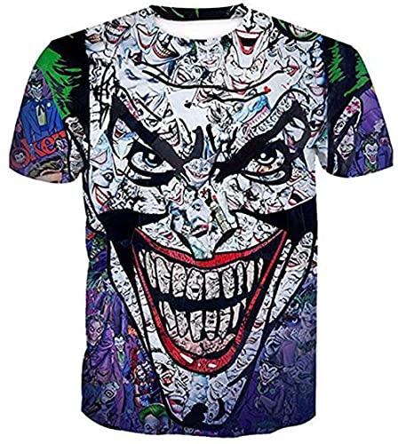 RITIOA 3D Kurzarm T-Shirt Gruseliger Clown 3D Tshirt Herren Gedruckt Tops Rundhals Interessant Strand Freizeit Bluse Sommer Clothing -T1-4XL