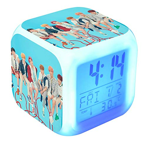 Christ For Givek KPOP BTS Bangtan Boys Love Yourself 结 Answer 7 Color LCD Digital Touch Alarm Clock Miembros Foto(H15)