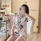 FYMIJJ Conjunto de Pijama,Silk Satin Pajamas for Women Short Sleeves Sleepwear Lapel Pyjama Femme Sexy Nightwear M to XXL,Pink,M