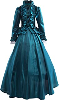 GRACEART Donna Abito con Crinolina Vittoriano Vestito Vintage Medievale Masquerade Abiti (XL, Verde)