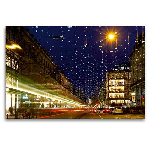 CALVENDO Premium Textil-Leinwand 120 x 80 cm Quer-Format Bahnhofstrasse in Zürich mit Weihnachtsbeleuchtung, Leinwanddruck von Enrico Caccia