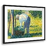 Printed Paintings Passepartout (80x60cm): Georges Seurat - El Jardinero