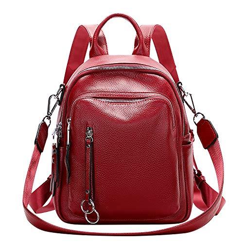 ALTOSY Bolso Mochila Mujer Cuero Genuino Pequeñas Elegante Mochila de Hombro Moda Casual (S10, Vino Rojo)