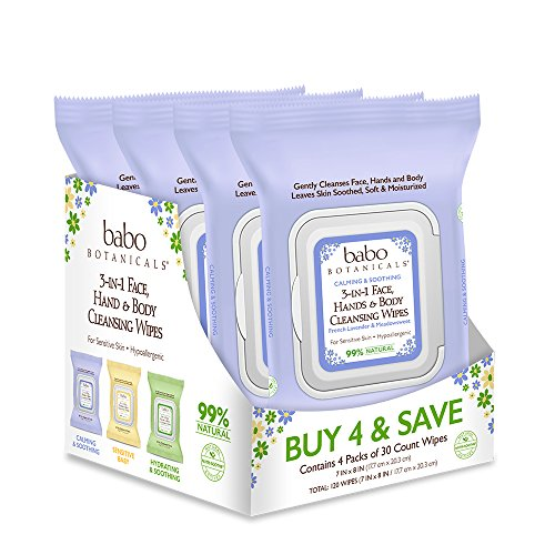 Babo Botanicals Calming 3-in-1 Face, Hand & Body Wipes, Purple, French Lavender & Meadowsweet, 30 Wipes (Pack of 4)