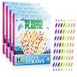 HowenDay Paper Straws | 200 Eco Friendly Drinking Straws | Biodegradable, Compostable, Disposable Straws in Biodegradable Packaging | 1 Large Box w/ 4 Inner Boxes of 50 Colorful Straws Each