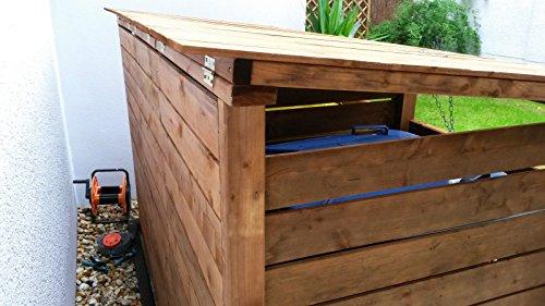 Mülltonnen-Box Mülltonnenverkleidung für 3 Tonnen inkl. Rückwand - 4