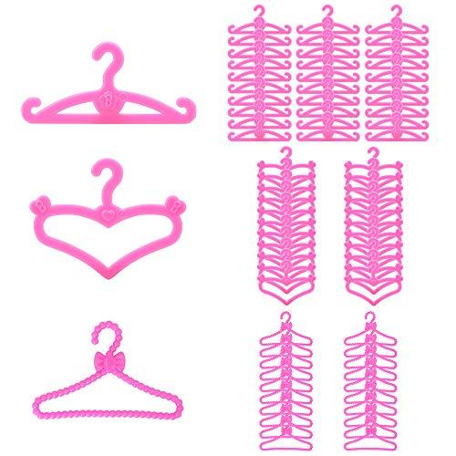 Miunana 70x Perchas de Plástico Rosado Ecorado con la Letra B y Corazón Accesorios con Ropa para 11.5 Pulgada 28 - 30 CM Muñeca