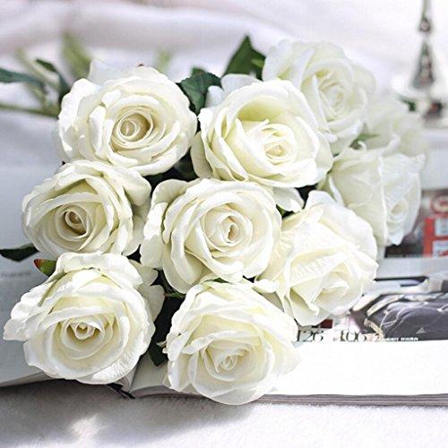 Longra Wohnaccessoires & Deko Kunstblumen Künstliche 5 Stück künstliche Fake Rosen Flanell Blume Bridal Bouquet Hochzeit Party Home Decor Blume (C)