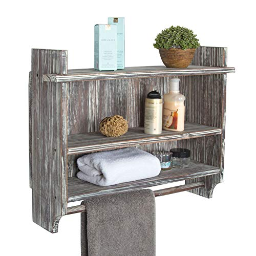 MyGift Wall Mounted Torched Wood Bathroom Organizer Rack with 3 Shelves and...