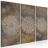 murando Cuadro en Lienzo Mandala 135x90 cm 3 Partes Impresión en Material Tejido no...