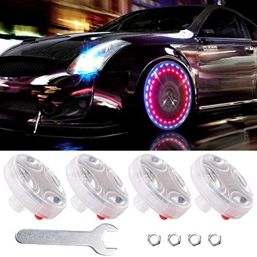 HSIQIAN Luces de rueda de coche para neumáticos, 4 unidades de luces solares para llantas de coche, sensores de movimiento coloridos LED para neumáticos intermitentes luces exteriores coloridas