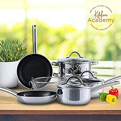 Kitchen Academy 10 Piece Mirror Coating Cookware Set Suitable for All Stove Including Induction