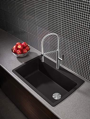 """BLANCO, Anthracite 441094 DIAMOND SILGRANIT Super Single Drop-In or Undermount Kitchen Sink, 33.5"""" X 18.5"""""""