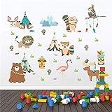 Animales divertidos tribu india pegatinas de pared para habitaciones de niños decoración para el hogar búho león oso de dibujos animados Fox tatuajes de pared de pvc arte mural