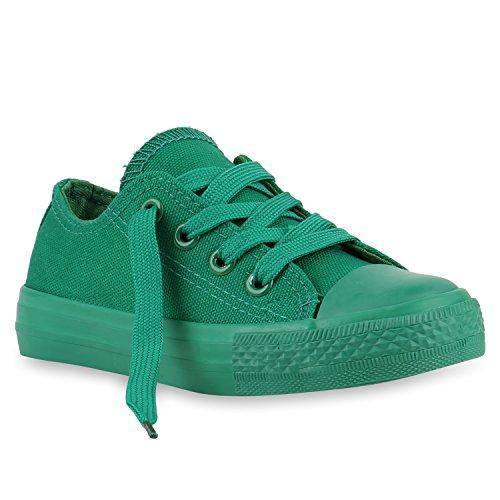 Stiefelparadies Kinder Sneakers Viele Farben Sportschuhe Turnschuhe Schnürschuhe 139819 Grün Grün 29 Flandell