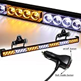 SMALLFATW 32 Inch 28 LED Emergency Warning Light Bar Flash Strobe Light Bar Universal Vehicles Trucks Traffic Advisor Light with Cigar Lighter and Suction Cups (Amber/White)