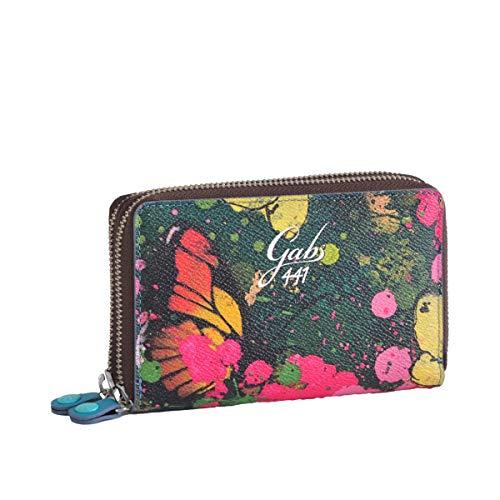 GABS Portafoglio donna Gmoney01 ruga FARFALLE primavera EcoPelle Pelle portacarte portamonete zip 15x10x3 cm