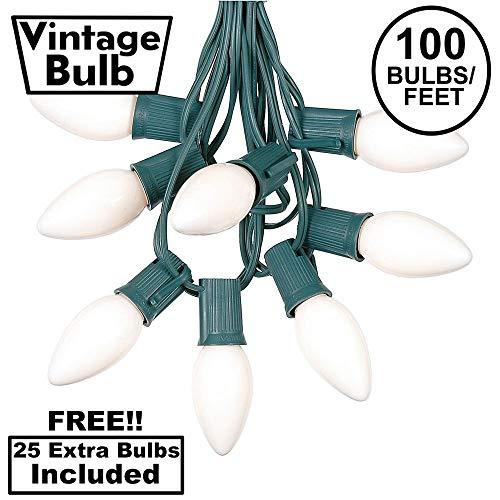 100 Foot C9 White Ceramic Christmas String Light Set - Outdoor Christmas Light String - Christmas Tree Lights – Opaque Christmas Bulbs - Roofline Light String – Outdoor String Lights - Green Wire
