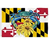 Bonsai Tree Maryland Flag 3x5 Ft - Vivid Color and Double Stitched - Large Double Sided Polyester Maryland State Flags with Brass Grommets for Indoor Outdoor Decoration