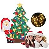 DIY Árbol de Navidad de Fieltro, con 29 Piezas de Adornos navideños Desmontables luz LED de 5 m, Árbol de Navidad para colgar en la pared para Cafe Hotel Home Decoración navideña