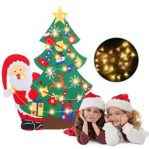 Albero di Natale in feltro fai-da-te, con 29 pezzi di ornamenti natalizi rimovibili 5 m di luce a LED, albero di Natale appeso a parete per Cafe Hotel Home Decorazione natalizia