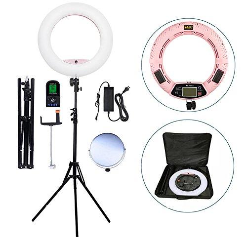 Yidoblo LED camera foto en video kleurtemperatuur licht Lightning lichtbron kit: 18 inch buitenste 96W 5500 K dimbare LED-ringlicht, afstandsbediening, camerahouder, statief lampen
