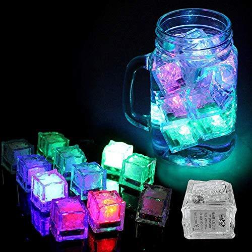 Dekoration Licht LED Eiswürfel Multicolor LED-Glühen-Licht Non Toxic Wassertauch LED Ice Cubes für Getränke Eiswürfel Licht für Bar Club Hochzeit Weihnachten Halloween Partys Dekoration, 12 Stück