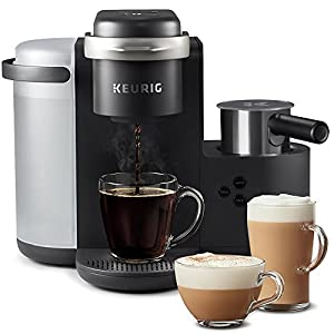 COFFEE, LATTES & CAPPUCCINOS: Use any K-Cup pod to brew coffee, or make delicious lattes and cappuccinos. SIMPLE BUTTON CONTROLS: Just insert any K-Cup pod and use the button controls to brew delicious coffee, or make hot or iced lattes and cappuccin...