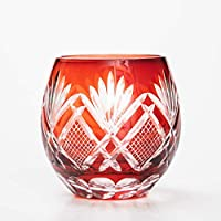 切子グラス エッグ タンブラー ビアグラス ビールグラス コップ おしゃれ ガラス 松剣 レッド 赤銅色 食洗機対応